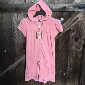 New Juicy Couture pink hooded terry cloth romper M